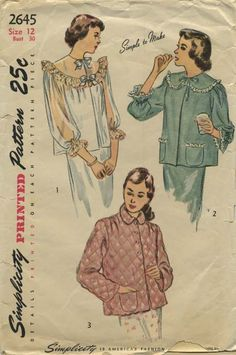 Vintage Sewing Pattern | Bed Jacket | Simplicity 2645 | Year 1948 | Bust 30 | Waist 25 | Hip 33