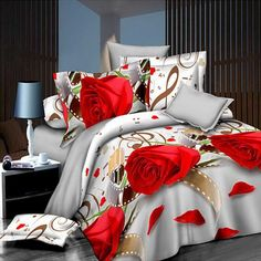 New Style White Red Flower Bedding Set of Duvet Cover Bed Sheet Pillowcase Bed Clothes Comforters Cover Queen No Quilt Bedroom Red, Dream Bedroom, Girls Bedroom, Bedroom Decor, Bed Sheet Sets, Bed Sheets, Comforter Cover, Duvet Covers, 3d Bedding Sets