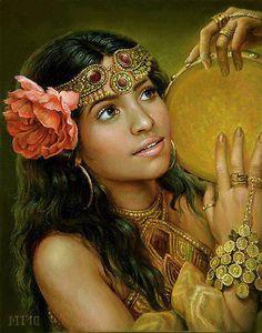 f Bard Drums Gypsy portrait Maria Ilieva Bulgaria 1973 Halloween Imagem, Gypsy Women, Gypsy Girls, Yoruba, Mural Painting, Paintings, Face Art, Indian Art, Geisha