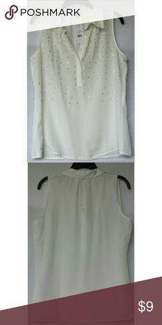 Loft Blouse Loft Sleeveless Blouse. Cream sleeveless button down with gold beading. Size M. B 38 L 26 100%Poly. NWT LOFT Tops Blouses