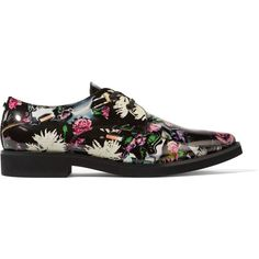 McQ Alexander McQueen - Floral-print Patent-leather Brogues (3.025.525 IDR) ❤ liked on Polyvore featuring shoes, oxfords, multi, patent leather shoes, patent leather oxfords, floral oxfords, brogue oxford and balmoral oxfords