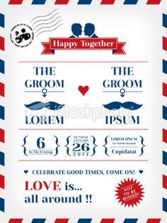 Gay Wedding Invitation Royalty Free Stock Vector Art Illustration