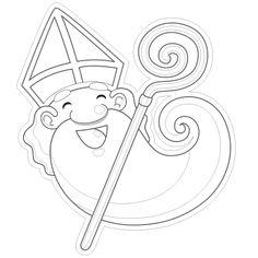 Dessin tête de Saint-Nicolas a colorier