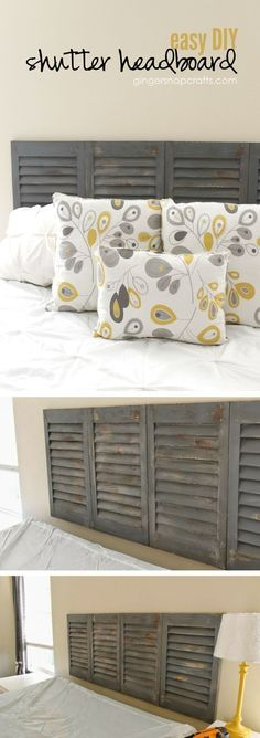 Check out how to make an easy DIY headboard from old shutters @istandarddesign