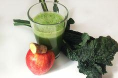 Ingredients: 1 apple 6 leaves kale (Tuscan cabbage) 1 cucumber 1 rhubarb stalk Piece of ginger root, 1 in./2.5 cm.