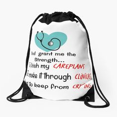 'Nursing Student Humor' Drawstring Bag by Gail Gabel, LLC Gabel, Lol So True, Nursing Students, Cotton Tote Bags, Clinic, Finding Yourself, Challenges, Humor, Printed