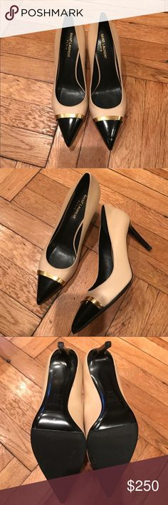 Saint Laurent Nude / Black Pumps Worn Once!!! 100% Authentic!!! Two small scratches on the right shoe, not noticeable. Nude leather pumps with black cap toe with metal gold trim. Heel height 3 1/4 inches. Fits a US 8.5 perfectly. Near perfect condition. Fabulous pump!!!! Saint Laurent Shoes Heels