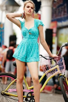 @roressclothes clothing ideas #women fashion cyan playsuit