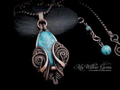 Wire Wrapped Blue Crazy Lace Agate Necklace - Copper and Gemstone Pendant on Extendable Chain - Aquamarine