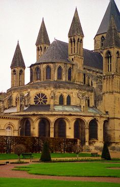 Exterior view of apse from Abbaye aux Dames    Location: Caen, France    c. 11th century