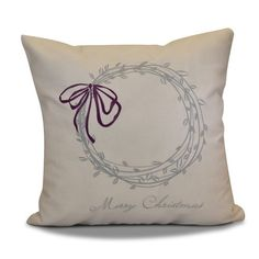 Found it at Wayfair - Decorative Holiday Word Print Outdoor Throw Pillow