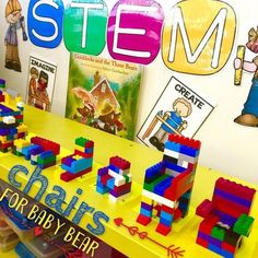 STEM + Goldilocks= New Chairs for Baby Bear! We discussed the problem in the story, how an engineer could help, the tools of an…