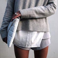 grey jumper and shorts with white shirt an bag, minimalist fashion tumblr