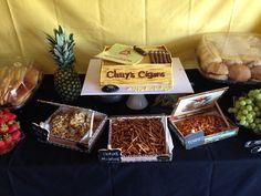 Havana/Cigar Theme Party  Original cigar boxes used to display snacks  Cigar box cake