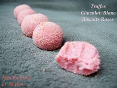 Chocolate Truffles and Pink Reims Cookies - My Recipes and Others . - douceurs -White Chocolate Truffles and Pink Reims Cookies - My Recipes and Others . - douceurs - Learn how to chain feather stitch in embroidery White Chocolate Truffles, Chocolate Desserts, Chocolate Cookies, Pink Cookies, Cupcake Cookies, Gourmet Desserts, Dessert Recipes, Bonbon Caramel, Biscuits Roses