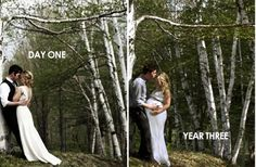 this couple returned to the spot where their wedding photos were taken to capture another milestone~  it's really great~!