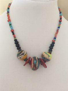 Multicoloured hollow lampwork beaded necklace by WendyMeeresArt on Etsy https://www.etsy.com/ca/listing/502668858/multicoloured-hollow-lampwork-beaded