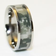 Army Camo Wedding Ring - Military Titanium Wedding Band - Marpat Camo Ring - Birthday Gift