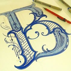 Capital B- beautiful ornamented hand lettering Creative Lettering, Lettering Design, Hand Lettering, Calligraphy Letters, Typography Letters, Caligraphy, Islamic Calligraphy, Inspiration Typographie, Fancy Letters