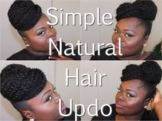 Easy simple natural hair updo with marley hair extension from Youtube