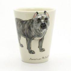 www.muddymood.com Original hand sculpt and hand paint   American Pit Bull Terrier Crop Ears Ceramic Mug.