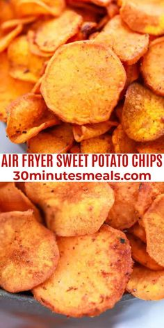 Air Fryer Sweet Potato Chips are crispy and have a mildly sweet flavor with brown sugar to enhance the sweetness and chili powder for a bit of spiciness. #sweetpotatochips #airfryer Yummy Appetizers, Appetizer Recipes, Snack Recipes, Dinner Recipes, Snacks, Sweet Potato Chips, Easy Delicious Recipes, 30 Minute Meals, One Pot Meals