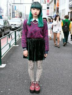 Only in #harajuku can green hair and purple sweaters coexist.