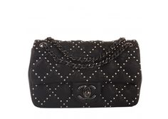 Chanel Black Lambskin Small Studded Flap Bag
