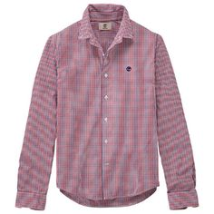 The slim-fit Rattle River men's shirts from Timberland feature great colors in gingham plaids.