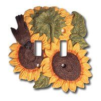 Sunflower Double Light Switch Plate Cover for sale online Switch Plate Covers, Light Switch Plates, Light Switch Covers, Sunflower Themed Kitchen, Sunflower Bathroom, Kitchen Themes, Kitchen Ideas, Country Kitchen, Red Kitchen