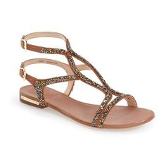 """Vince Camuto 'Jacinta' Ankle Strap Sandal, 1"""" heel (1 795 ZAR) ❤ liked on Polyvore featuring shoes, sandals, summer cognac leather, caged sandals, leather shoes, leather sandals, strappy sandals and strap sandals"""