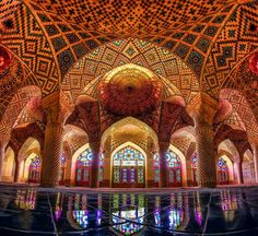 Nasir al-Mulk Mosque in Shiraz, Iran.Built in the Nasir al-Mulk Mosque is heavily decorated with stained glass – something very rare in mosque architecture. When you step . Mosque Architecture, Amazing Architecture, Art And Architecture, Cultural Architecture, Historical Architecture, Shiraz Iran, Pink Mosque, Photo Voyage, Beautiful Mosques