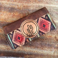 Red Aztec Tri-Fold Ladies Wallet with Cactus Leather Patch by Running Roan Tack