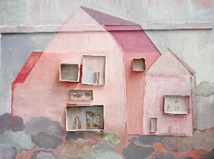 Pink paper house with matchbox windows.