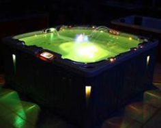 Music on, bubbles on, glass of wine and our soft glow LED's...now it's time to relax! www.hottub-world.com