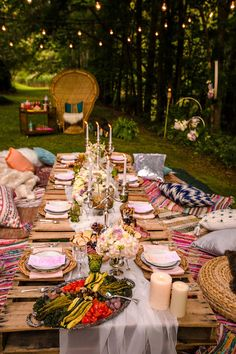 Boho dining tablescape from a Boho Midsummer Nights Soiree on Kara's Party Ideas | KarasPartyIdeas.com (9)