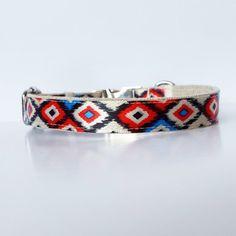"""Dog Collar, Ikat dog collar, red and blue dog collar, diamonds, modern dog collar, Gold or Silver hardware, 5/8"""" wide"""