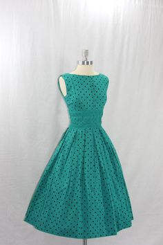 1950's Vintage Dress - Blue Green with Black Polka Dots Sleeveless Full Skirt Party Frock