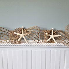 "Handmade beach decor garland of real starfish tied to 4"" wide netting ribbon, 10 FT length Seashell Garland, Seashell Frame, Beaded Starfish, Nautical Christmas, Beach Christmas, Coastal Colors, Coastal Decor, Custom Mirrors, Beach Gifts"