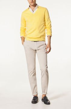 V-NECK SWEATER WITH DYED COLLAR - Sweaters & Cardigans - Garments - MEN - Malaysia