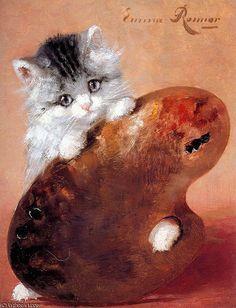emma chaton soleil de Henriette Ronner Knip (1821-1909, Netherlands)