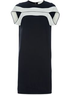 Black fitted dress from Stella McCartney featuring cap sleeves, round neck and cream horizontal stripes above the bust.