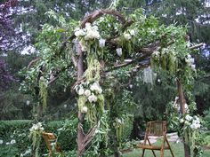 Wedding ceremony flowers | chuppah | outdoor wedding floral decor | Westchester New York | Bedford Village Florist