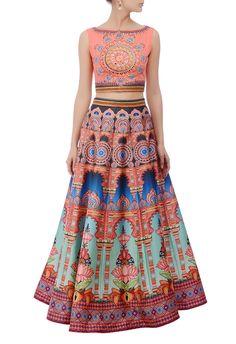 Peachy pink & blue motif printed embroidered lehenga set by Neha Agarwal - Shop at Aza