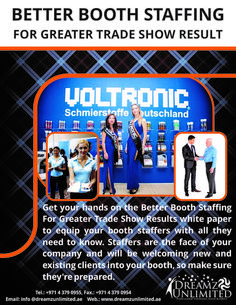 We are a full service, event staffing agency, staffing experienced promotional models for trade shows, conventions, promotions, and any other event marketing needs. We can provide promotional models across the GCC. Need promotional models, hostesses, crowd gaterers, entertainers, event staff or spokes models for upcoming trade shows or corporate event? Call us!