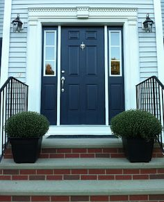 Front Door Colour Grey Front Door Colors With Blue Siding Front Door Blue Grey Navy Front Door Blue Front Door For A Warm And Friendly House Beautiful Front Doors, Black Front Doors, Painted Front Doors, Light Blue Houses, Grey Houses, Hale Navy, Door Paint Colors, Front Door Colors, Blue Siding