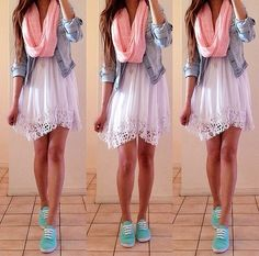 Cute spring outfit. White lace dress, denim jacket, pink scarf, turquoise keds
