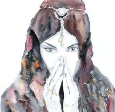 Gypsy Woman Drawings | Gypsy Fashion woman ART PRINT 13X19 original watercolor painting ...