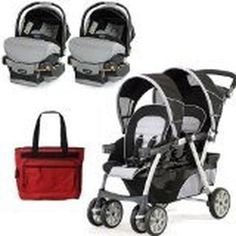 Travel System Double Strollers for Twins: Chicco Cortina Together Travel System Double Stroller for Twins
