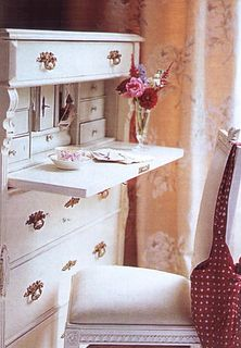 white swedish desk. tea. valentines.